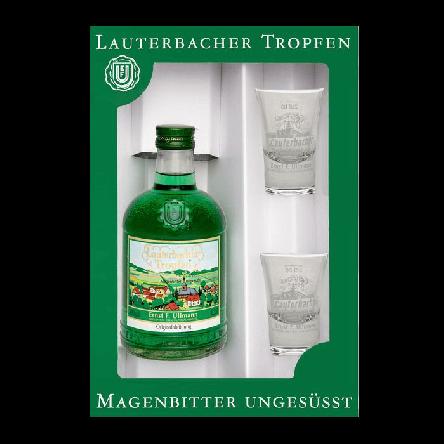 Geschenkkarton Lauterbacher Tropfen 1 Fl. + 2 Gläser